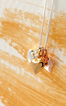 Heart Charms Sterling Silver Necklace by Grace and Valour