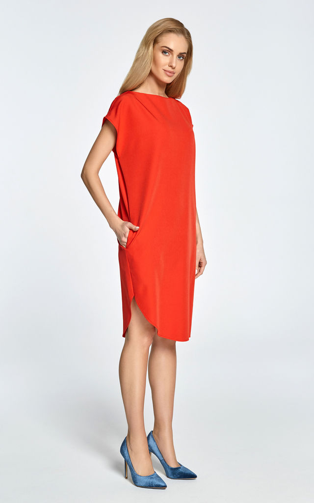 Red midi shift dress with asymmetric hem by MOE