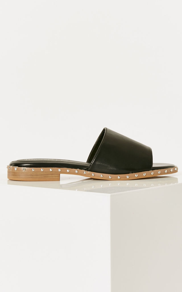 Black PU Leather Slider Sandals by Truffle Collection