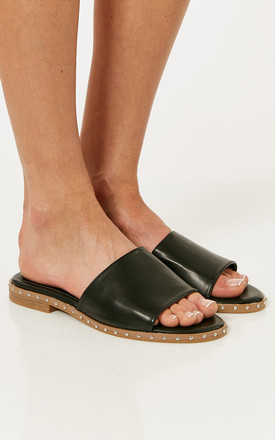 Black Pu Leather Slider Sandals by Truffle Collection Product photo
