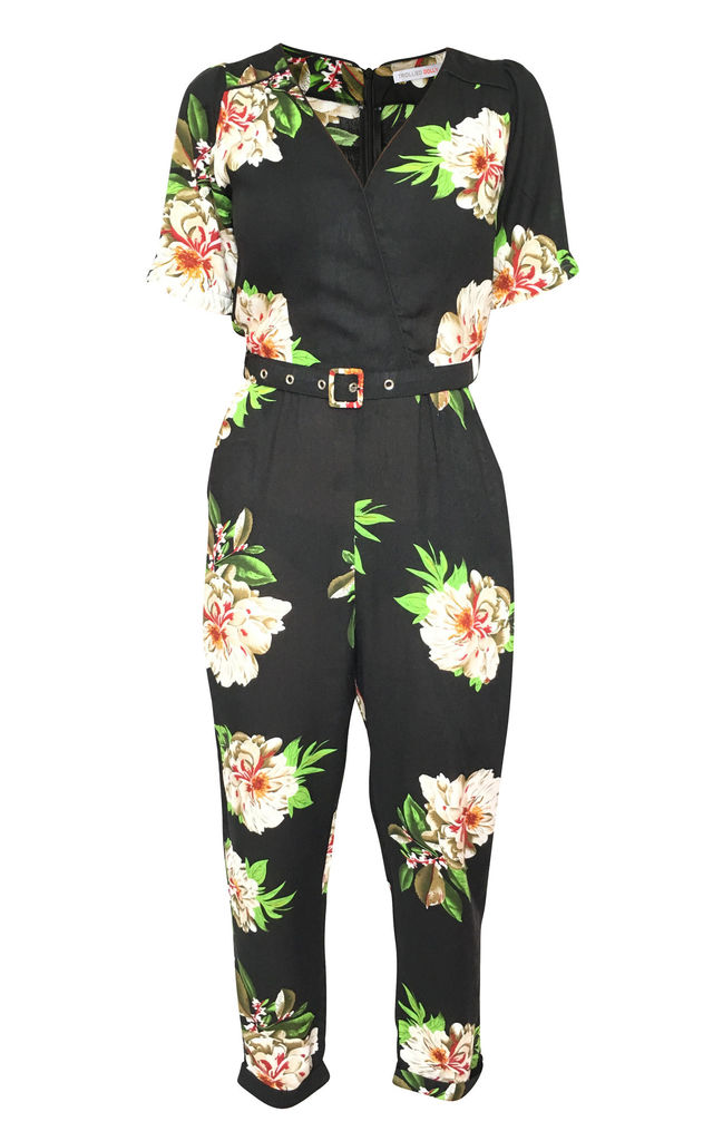 Out, Out Jumpsuit - Black Singular Flower by Trollied Dolly