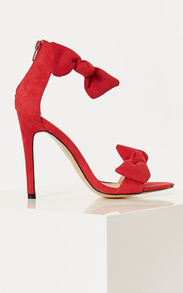 Red Barely There Heels With Bow Detail by Truffle Collection