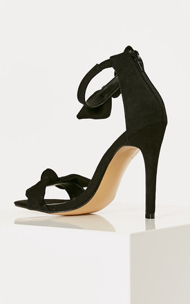 Black Barely There Heels With Bow Detail by Truffle Collection