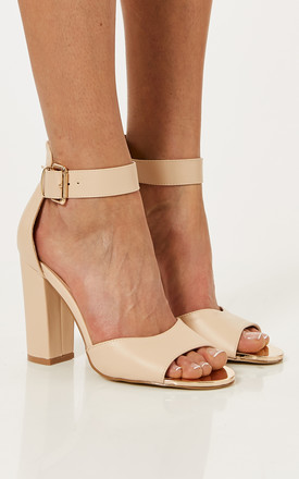 Nude Pu Leather Block Heels With Ankle Strap by Truffle Collection Product photo