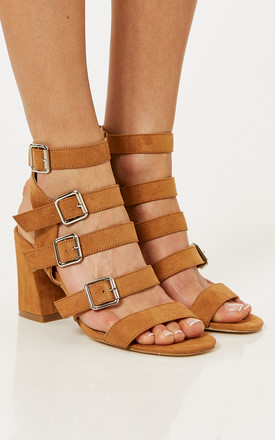 Tan Multi Strap Heels With Buckle Detail by Truffle Collection Product photo
