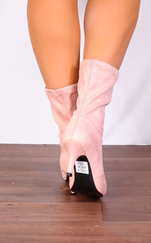 Light Pink Sock Stretch Kitten Heel Ankle Boots by Shoe Closet