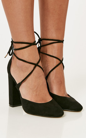 Black Faux Suede Block Heels With Lace Up Detail by Truffle Collection Product photo