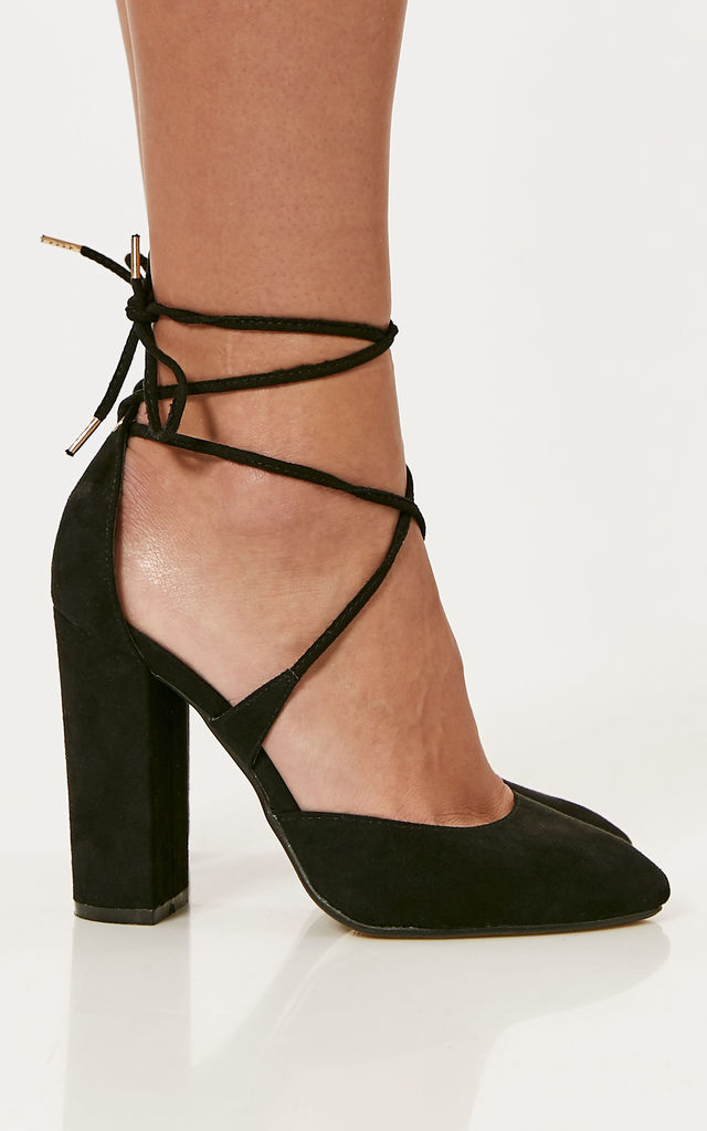 Black Faux Suede Block Heels With Lace Up Detail by Truffle Collection