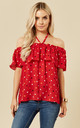 Dottie Polka Dot Halterneck Top in Red by Once Upon a Time
