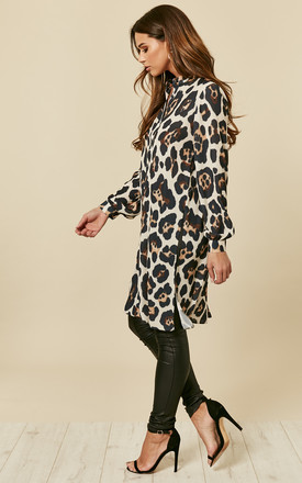 Leopard Print Long Shirt With Split by Love