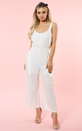 White Culotte Strappy Jumpsuit by Glamorous Product photo