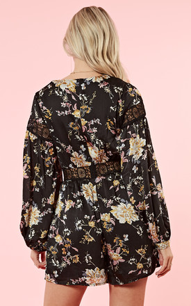 Black Cream Floral Long Sleeve V-Neck Playsuit by Glamorous