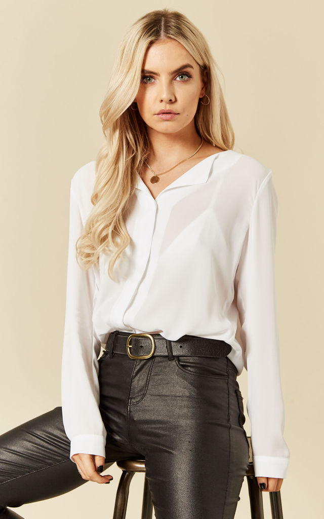 Snow White Long Sleeve Collarless Shirt by VILA