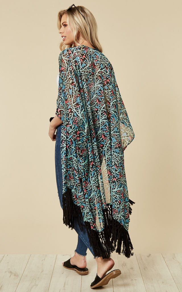 Forget Me Not Tassel Kimono in Black by Once Upon a Time