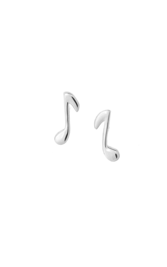MUSIC NOTE STUD EARRINGS SILVER by Dainty Edge Jewellery