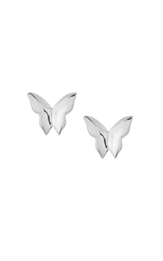 BUTTERFLY STUD EARRINGS - SILVER by Dainty Edge Jewellery