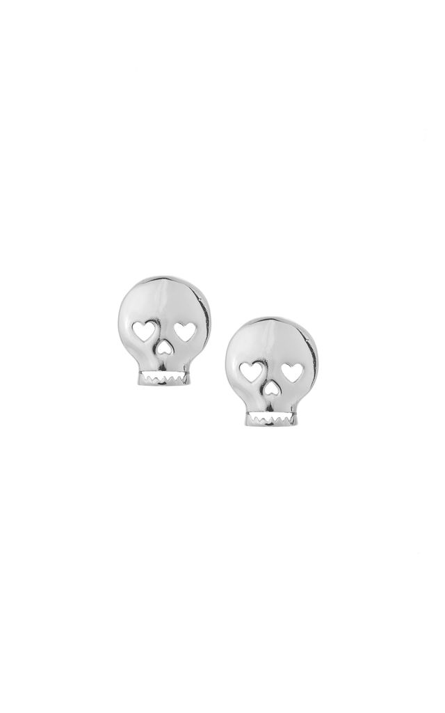 SKULL STUD EARRINGS SILVER by Dainty Edge Jewellery