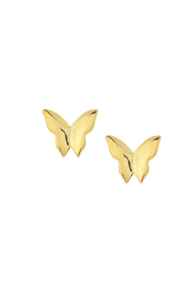 BUTTERFLY STUD EARRINGS - GOLD by Dainty Edge Jewellery