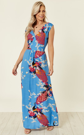 Blue Peacock Floral Summer Maxi Dress by Ruby Rocks Product photo