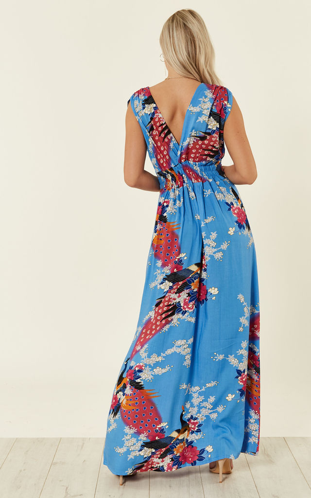 8ef06b76a91 Blue Peacock Floral Summer Maxi Dress by Ruby Rocks
