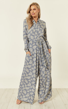 Blue Feather Palm Palazzo Shirt Jumpsuit by Ruby Rocks