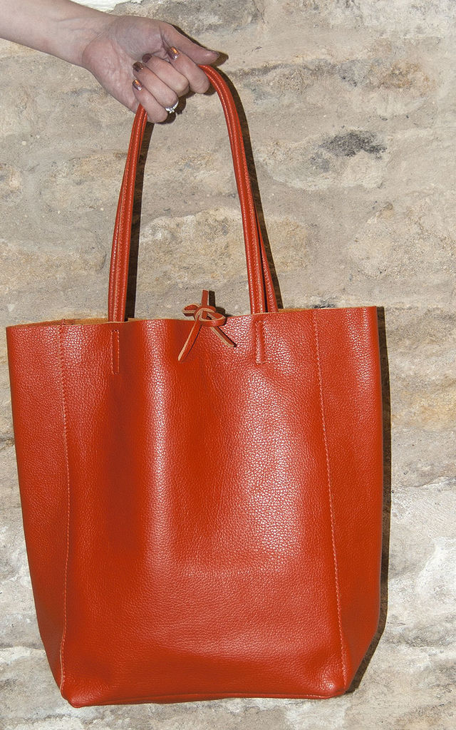 Orange Leather Tote Shopper by Grace and Valour