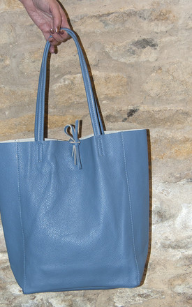 Denim Blue Leather Tote Shopper by Grace and Valour