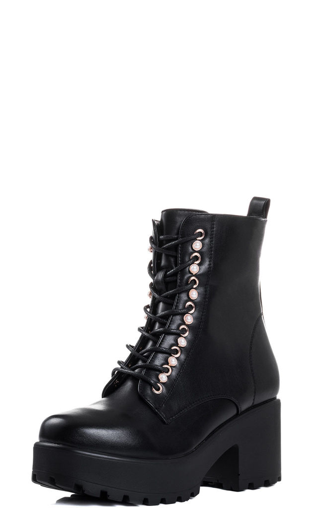 SHOTGUN Cleated Sole Pearl Style Lace Up Platform Ankle Boots - Black Leather Style by SpyLoveBuy