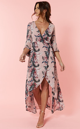 Pink Palm Floral Wrap Dress With Dip Hem by Glamorous Product photo