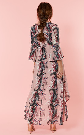 Pink Palm Floral Wrap Dress With Dip Hem by Glamorous