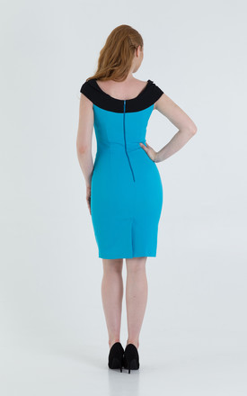 Veronika Cap Sleeve Pencil Dress in Black/Blue by JEVA FASHION