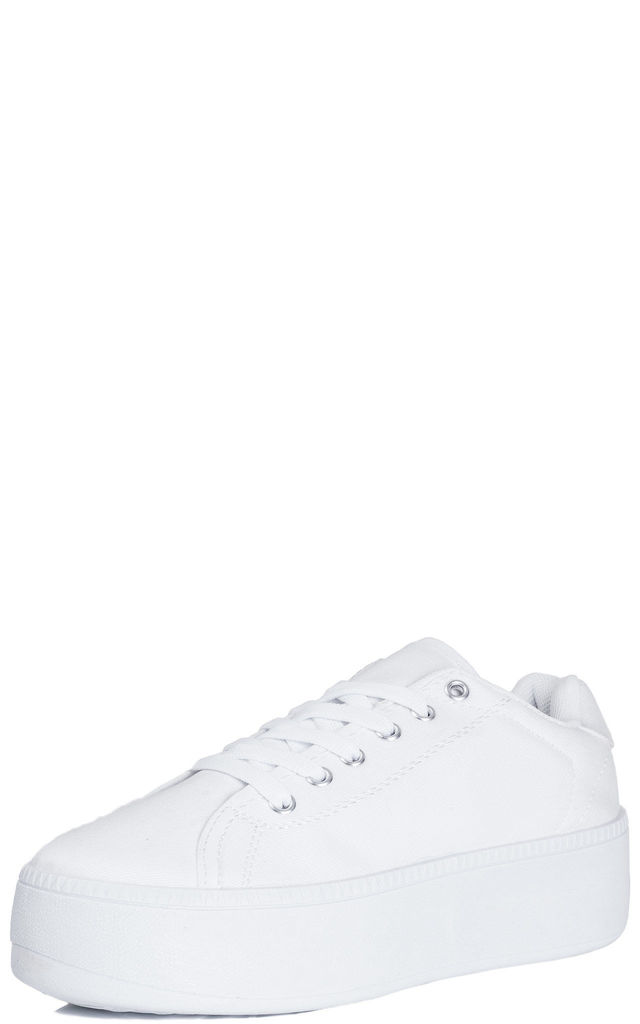 A-OK Flat Chunky Lace Up Flatform Platform Trainer Shoes - White Canvas by SpyLoveBuy