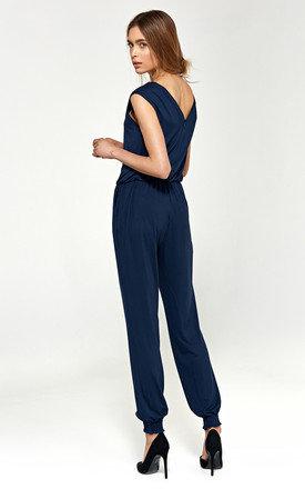 Jumpsuit with v-neck - navy by so.Nife