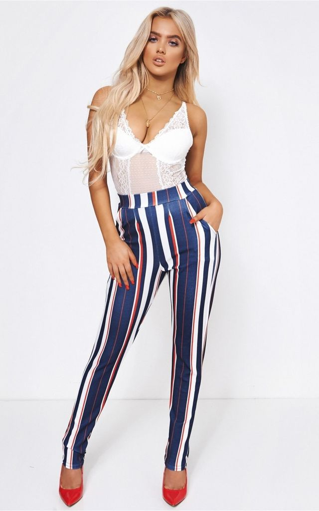 Cara Red & White Stripe Trousers by The Fashion Bible