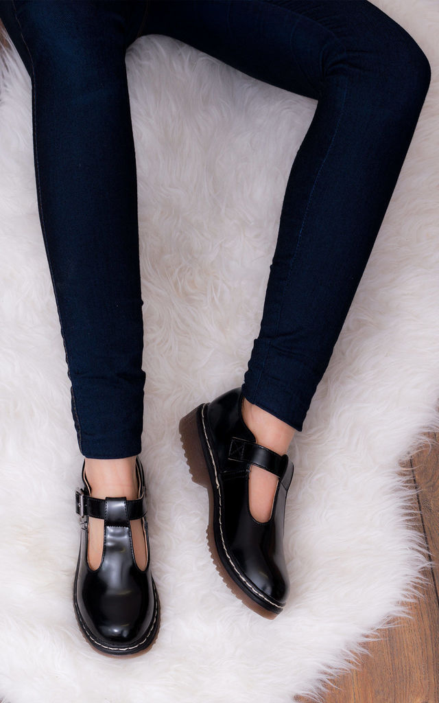 SNATCHED Buckle Mary Jane T Bar Flat Shoes - Black Leather Style by SpyLoveBuy