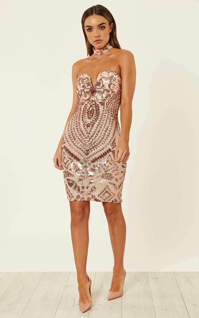 c54b612a156d Rose Gold Luxe Sweetheart Plunge Sequin Embellished Midi Dress by Nazz  Collection