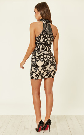 Black Nude VIP Luxe Illusion Sequin Embellished Mini Bodycon Dress by Nazz Collection