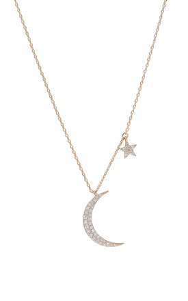 Moon And Star Charm Necklace Gold by DOSE of ROSE Product photo