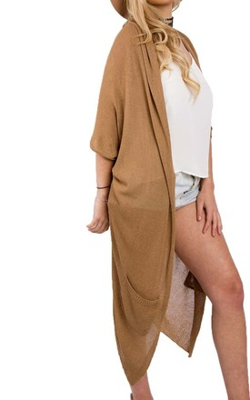 Camel Lightweight Maxi Loose Knit Batwing Open Cardigan by Urban Mist