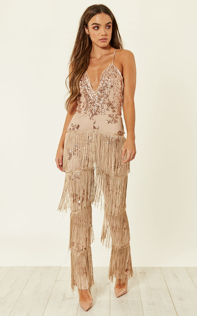 d5f27807 Rose Gold Nude Plunge Floral Sequin Fringe Jumpsuit by Nazz Collection