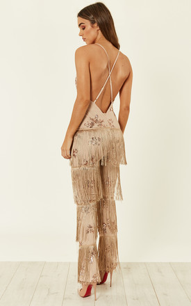 Rose Gold Nude Plunge Floral Sequin Fringe Jumpsuit by Nazz Collection