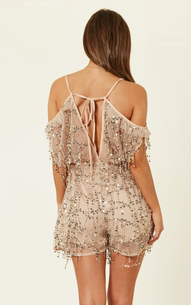Nude Sheer Plunge Gold Sequin Tassel Fringe Playsuit Romper by Nazz Collection