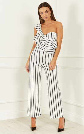 White Pin Striped One Shoulder Ruffle Jumpsuit by Bella and Blue Product photo