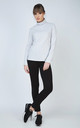 Light Grey polo neck jumper with long sleeves by Conquista Fashion