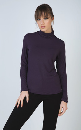 Purple Long Sleeve Polo Neck Jumper by Conquista Fashion