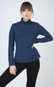 Navy Long Sleeve Polo Neck Jumper by Conquista Fashion