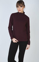Aubergine Long Sleeve Polo Neck Jumper by Conquista Fashion