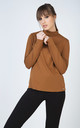 Biscuit Colour Long Sleeve Polo Neck Jumper by Conquista Fashion