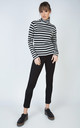 Striped Black and Grey Polo Neck Jumper by Conquista Fashion