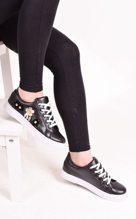 Womens Black Flat Trainers Lace Up Embroidered Flower Sneaker Pumps by Solewish